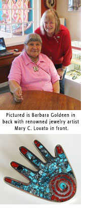 Photo of Barbara Goldeen, jewelry maker Mary C. Lovato and sample of here jewelry