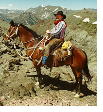 Photo of Brian Lebel on his horse on Mt. Baldy