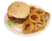 Burger and Onion Rings Plate