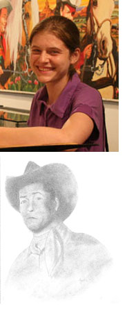 Photo of Angelica and her drawing of Roy Rogers