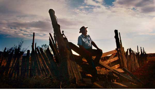 Myron Beck photo of Cowboy on Fence
