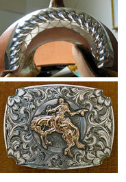 Photo of saddle and belt buckle detail
