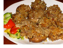 Platter of delicious stuffed mushrooms