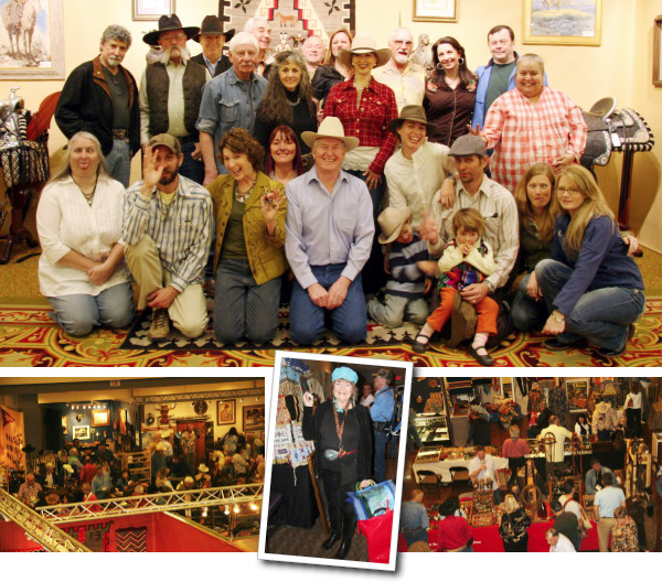 Collage of the High Noon auction staff and show floor shots