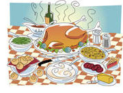 Illustration of Thanksgiving food table