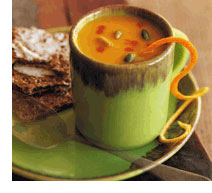 Delicious cup of curried pumpkin soup