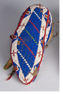 Photo of a blue beaded moccasin