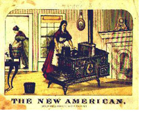 Photo of mother at a wood burning stove