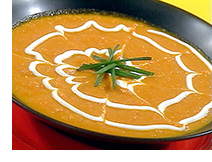 Smooth delicious curried carrot soup