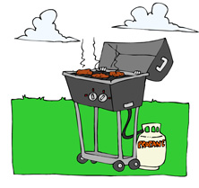 Burgers on BBQ Illustration