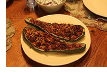 Delicious stuffed eggplant boats