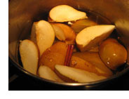 Bowl of delicious poached pears