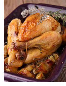 Delicious garlicky roast chicken