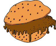 Drawing of a Sloppy Joe sandwich