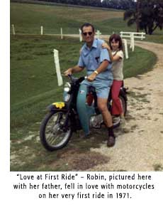 Robin and her dad on a motorcycle
